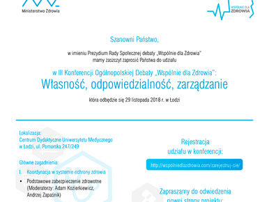 """Trzecia konferencja """"Wspólnie dla Zdrowia"""" w Łodzi"""