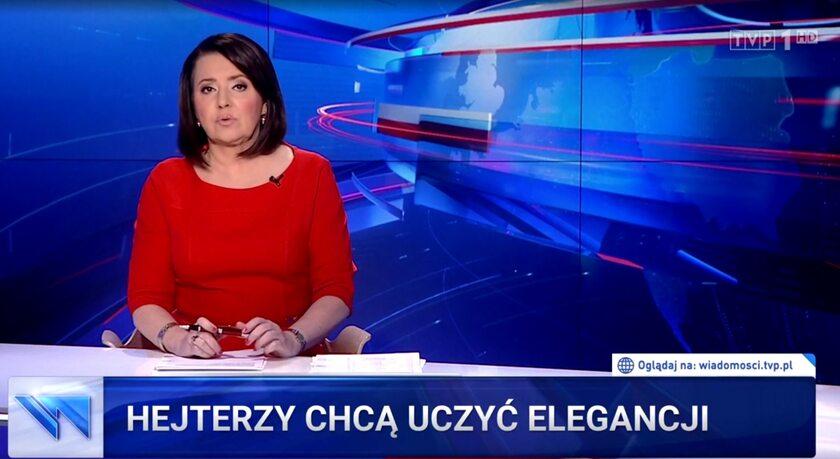 """""""Hejterzy chcą uczyć elegancji"""" na pasku """"Wiadomości"""" TVP"""