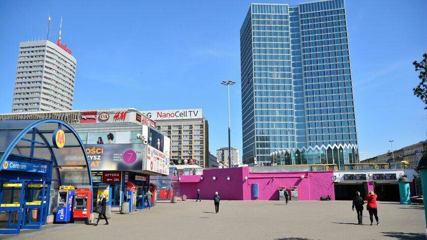Centrum Warszawy w trakcie pandemii koronawirusa