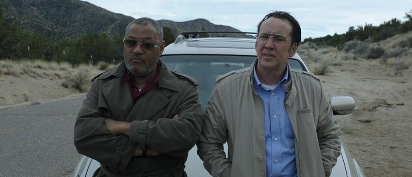 "Nicolas Cage i Laurence Fishburne w filmie ""Running with the Devil"" (2019)"