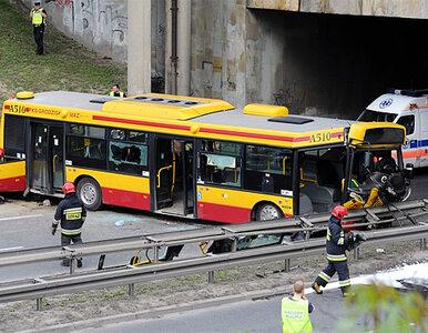 Warszawa: autobus zjechał z nasypu. 30 rannych