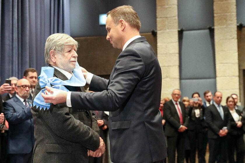 Szewach Weiss i Andrzej Duda